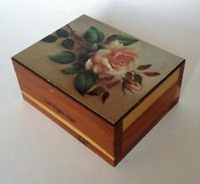 Vintage wooden box trinket with picture of rose on the top on golden ... Lot 16A