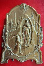 UNIQUE ANTIQUE OUR LADY OF LOURDES SIGN BY RUFFONY SUPERB BRONZE WITH MARKS ICON