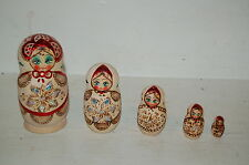Vintage Ceprueb Nocag Russian Matryoshka Nesting Dolls Set of 5 Signed