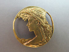 VTG Victorian Inspired Brooch Pendant Woman's Face Bronze Gold Tone Bale Cameo