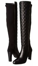 New STUART WEITZMAN Stitches Size: 11 Black Napa Over Knee Quilted Leather Boots