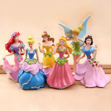 6 pcs Set Disney Princess Toy Cake Toppers Figures Cinderella Aurora Belle