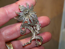 VINTAGE JEWELLERY BEAUTIFUL 3D SILVER MARCASITE FLOWER STATEMENT BROOCH FUR PIN