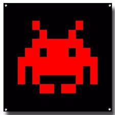 Red espacio Invader Letrero De Metal, juegos retro, vintage, Video Juego Arcade