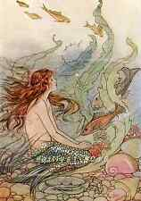 Postcard: Repro of Vintage 1920s Print - Little Mermaid - Red Hair