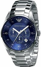 Emporio Armani Men's AR5860 Silver Stainless-Steel Quartz Watch with Blue Dial