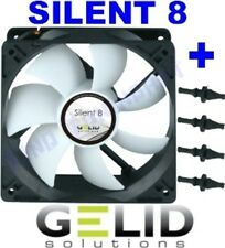 VENTOLA per CASE COMPUTER PC 80mm GELID SILENT 8 FAN 80 x 25 + GOMMINI 3 PIN 12V