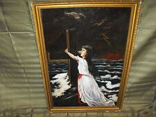 Antique Oil on Canvas Painting Seascape/Woman Holding a Cross Religious Painting