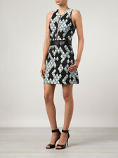NWT 3.1 Phillip Lim $795 Pixel Snake Zip Front Dress SZ 8 Leather Belt Jacquard
