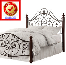 QUEEN Sized Metal Poster Bed with Iron Scroll Headboard & Footboard