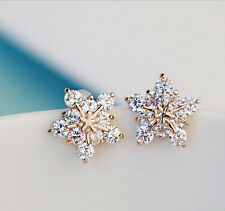 Womens Fashion Elegant Cute Crystal Rhinestone Snowflake Ear Studs Earrings Gift
