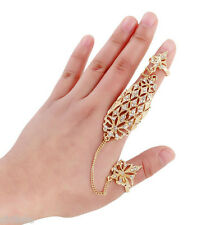 Fashion Charms Hollow out Flower Full Finger Link Two Finger Joint Ring Plated