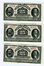 ^3 CU Consecutive SN#  Estado De Sonora 25 Centavos Banknotes