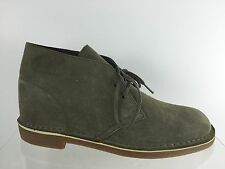 Clarks Mens Dusty Dark Green Leather Ankle Boots 10 M