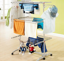 6 Tiers Clothes Large Stainless Hanger Laundry Foldable Hanging Drying Rack Air