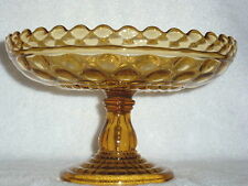 """CENTRAL GLASS Antique """"Rope & Thumbprint Lattice""""  Amber Open COMPOTE"""