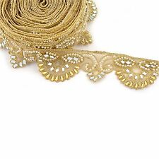 Indian Hand Beaded Bridal Dress Border 9 YD Trim Ribbon Golden Sewing Pearl Lace