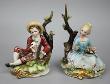 Capodimonte Bruno Merli figurines Boy with Dove & Girl with Flowers WorldWide