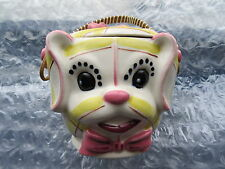 Old Made in Japan Calico Pink & Yellow Dog Cookie Jar