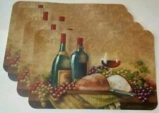 Set of 4 Wine Glass Theme Zinfandel Pinot Bread Grapes Vinyl Table Placemats