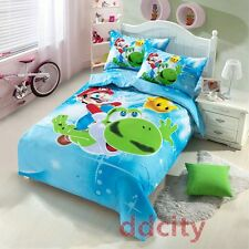 Full Size Cartoon Super Mario Brothers Cotton Duvet Cover Bedding Set 3pcs Kids