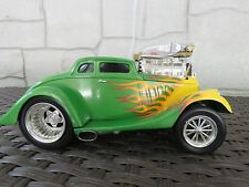 1933 Willys Coupe Muscle Machines Green with Yellow Flames 1:18 Scale Die Cast