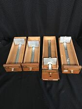 4 Vintage Index Card Catalog Cabinet Drawer School Library Wood Dovetail Oak