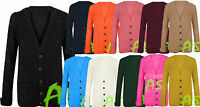 A59 New Women's Long Sleeve 5 Button Top Chunky Aran Cable Knit Grandad Cardigan