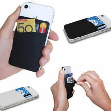 Black Wallet Credit Card Cash Pocket Stick on Adhesive Holder Pouch For Phone