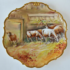 Limoges Flambeau Scenic Sheep Gold Charger Plate