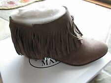 NEW STEVE MADDEN PATZEE TAUPE FRINGE SUEDE ANKLE BOOTS WOMENS 9 FREE SHP