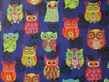 WISE OWLS OWL PURPLE BLACK INLAY COLORS COTTON FABRIC BTHY