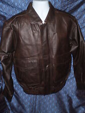 MENS SMALL BROWN LEATHER MOTORCYCLE FLIGHT JACKET CHARLES KLEIN BOMBER COAT ZIP