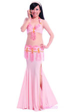 Performance Belly Dance Costume 3 Pics Bra&Belt&Skirt 34B/C 36B/C 38B/C 11 Color