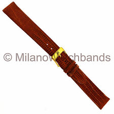 16mm Alfred Hammel Tan Genuine Teju Lizard Flat Unstitched Watch Band