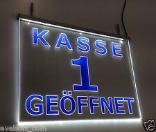 """LED Leuchtschilder SET - Kassenschild """"Kasse 1 - 4 Geöffnet"""" ©faunz"""
