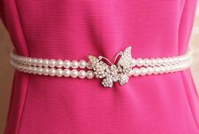 New Two Chain Betterfly pearl&Rhinestone Waist Belt Elastic Stretch Waistband