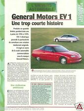 General Motors EV 1 Electrique Electric Car Auto FICHE FRANCE