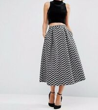 BRANDED Metallic Jacquard Midi Prom Skater Skirt in Mono UK 6/EU 34/US 2