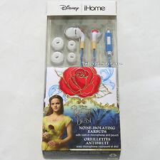 iHome Beauty & The Beast Noise Isolating Earbuds with Red Rose Pouch New in Box