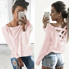 Fashion Womens Bandage Lace Up Back Cross T-Shirt Long Sleeve Casual Blouse Tops