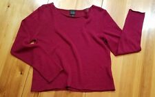 Eileen Fisher linen boatneck sweater cranberry red medium excellent