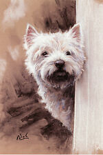"""WEST HIGHLAND WHITE WESTIE TERRIER DOG LIMITED EDITION PRINT  """"Looking for Me"""""""