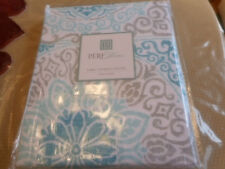 PERI HOME BRYSON MEDALLION SHOWER CURTAIN AQUA TEAL WHITE SILVER-GREY NEW