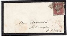 * 1852 MOURNING COVER =186= DUBLIN NUMERAL 4 MGN 1d IMPERF UDC KILLOUGH ARRIVAL