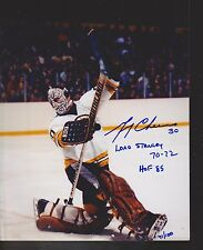 Gerry Cheevers Boston Bruins Autograph Signed 8x10 2 Inscriptions Limited 100 *