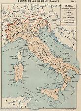 ITALIA: CONFINI FISICI,ETNOGRAFICI,POLITICI. Carta Geografica.Stampa Antica.1899