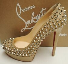 Christian Louboutin Bianca Spikes 140 Leather Platform Heels Pumps Shoes 40