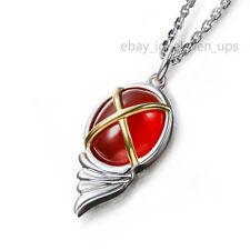 Silver Necklace Shakugan no Shana Cosplay Red Agate Gold Plated Cross Chain New