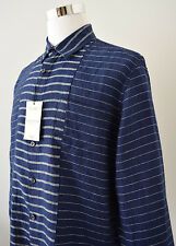 NWT Murano Baird McNutt Linen Shirt Navy Blue Striped Slim Fit L/Sleeve Sz XL